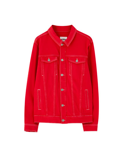 Red denim jacket with contrast seams