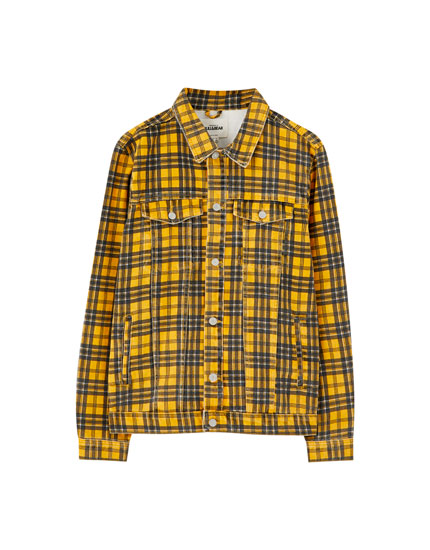 Mustard yellow check denim jacket