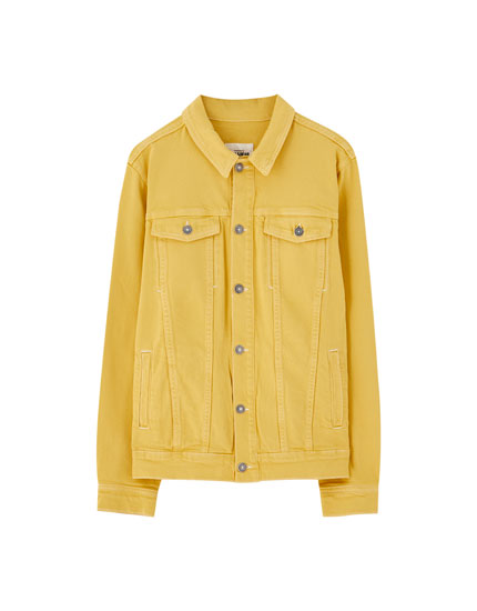Mustard yellow denim jacket with contrast seams