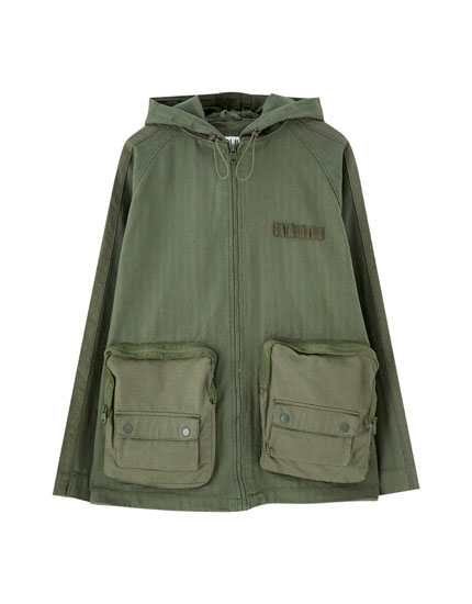 Khaki parka with cargo pockets