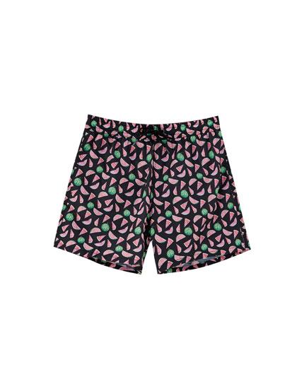 Watermelon print swimming trunks