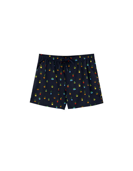 All-over cactus print swim trunks