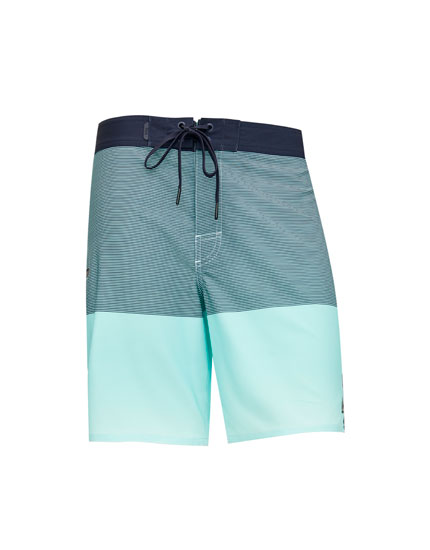 Multi-stripe technical surfer swim trunks