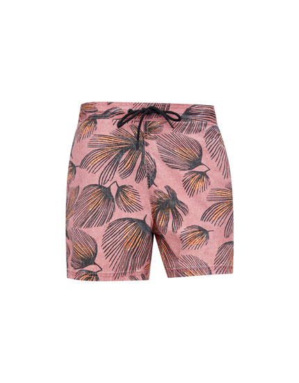 Pink feather print Bermuda swimming trunks