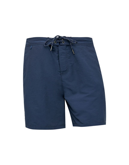 Bermuda swimming trunks with side stripes