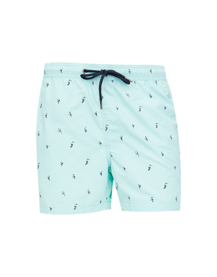 Printed Bermuda swim trunks