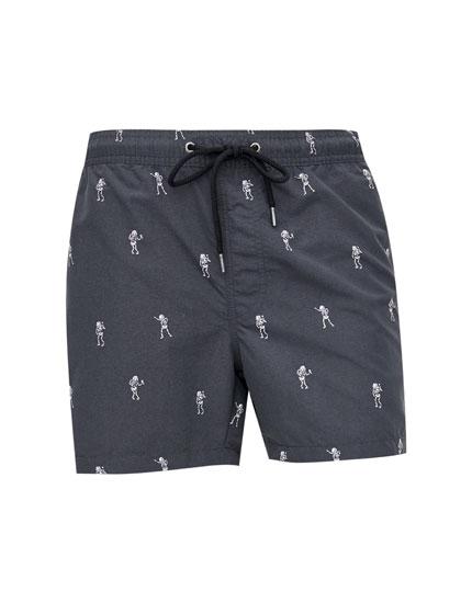 Printed Bermuda swimming trunks