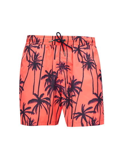 Palm tree print Bermuda swim trunks