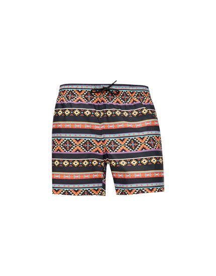 Quick-dry printed swimming trunks