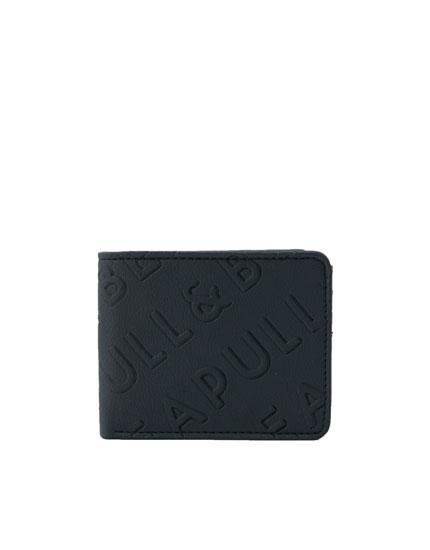 Black wallet with raised logo design