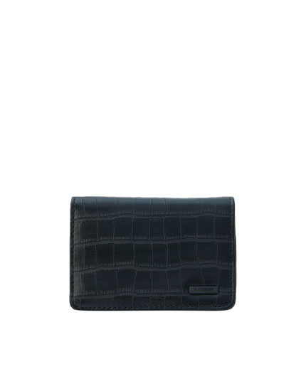 Mock croc faux leather wallet