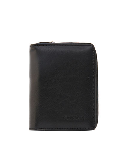 Faux leather wallet with zip