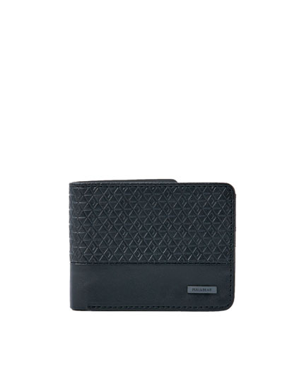 Black wallet with raised panel
