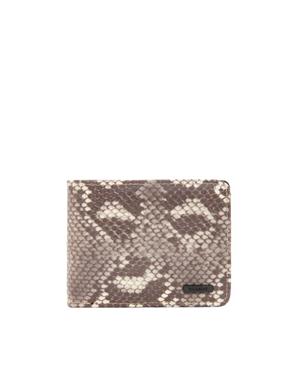 Faux leather snakeskin-print wallet
