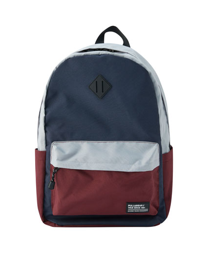 Backpack with blue and grey panels