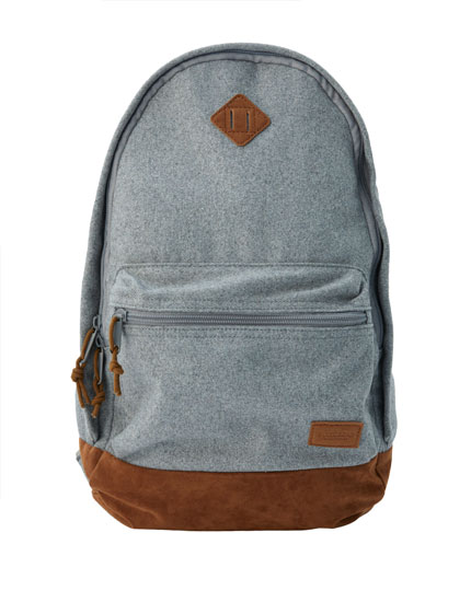 Grey backpack with faux suede trims