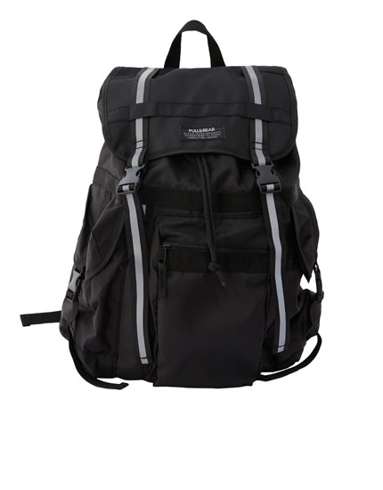 Technical black backpack with pockets