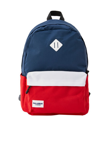 Blue and red colour block backpack