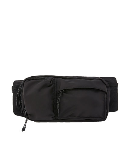Black belt bag with pockets