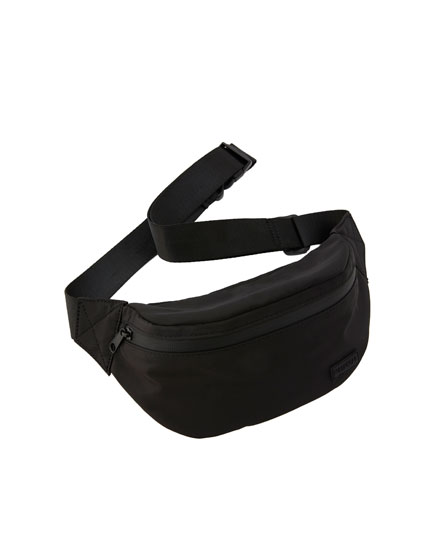 Black nylon belt bag