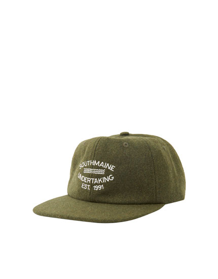 Panelled khaki cap with embroidered detail