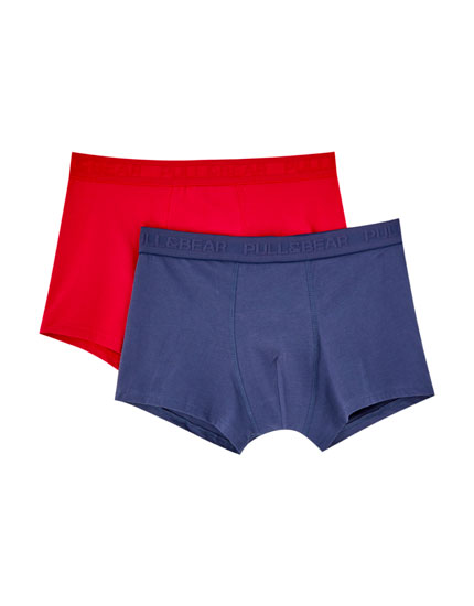 2-pack of navy blue and red boxers