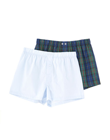 2-pack of blue and tartan check boxers