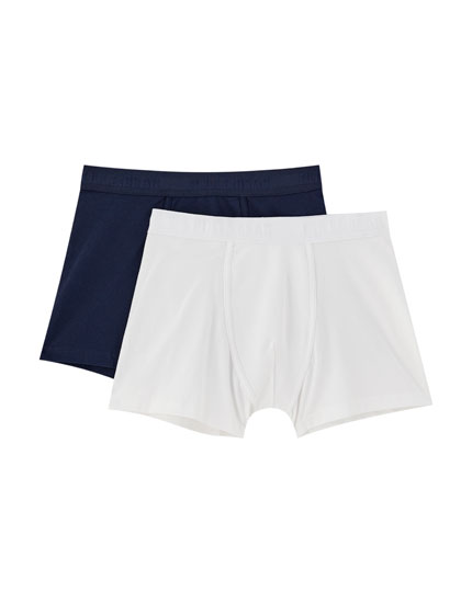 2-pack of white and blue boxers