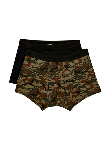 2-pack of camouflage and plain boxers