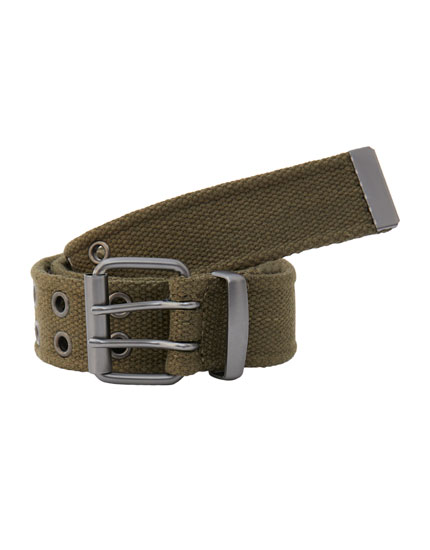 Khaki canvas belt