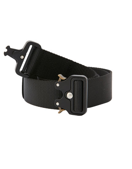 Faux leather military buckle belt