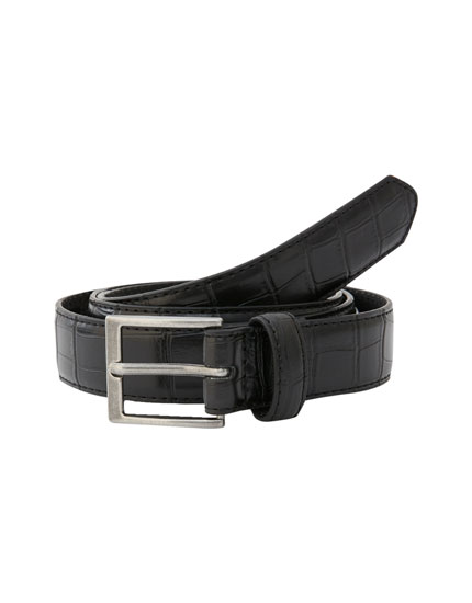 Faux leather snakeskin-effect belt
