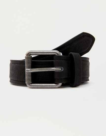 Faux leather belt with chain detail