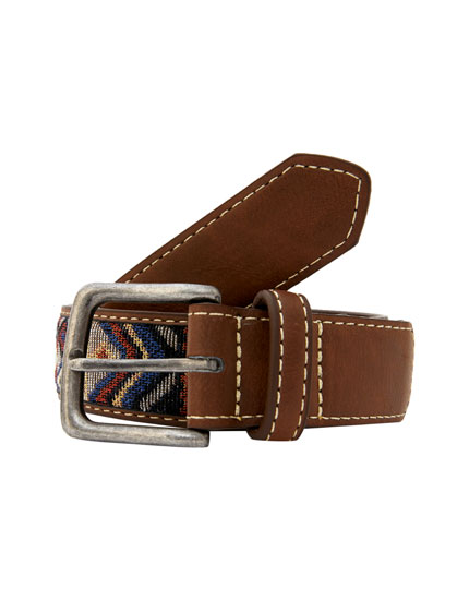 Brown geometric belt