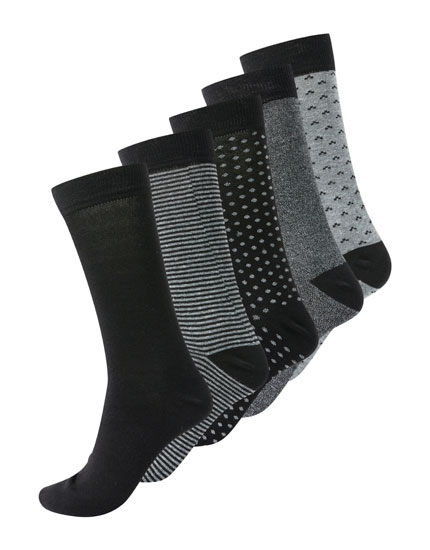 5-pack of long heathered and striped socks