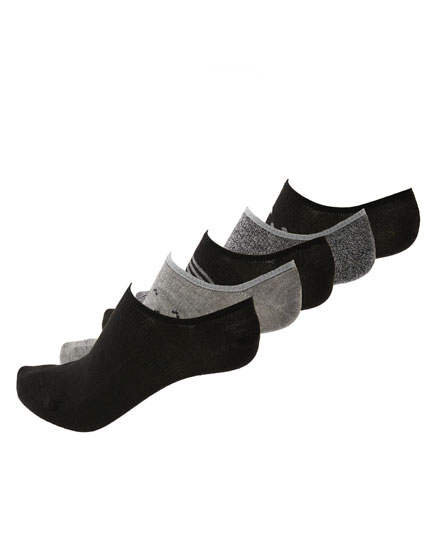 5-pack of patterned black no-show socks
