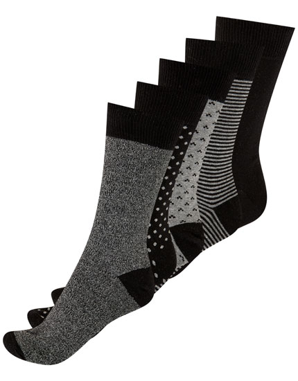 5-pack of long black melange socks