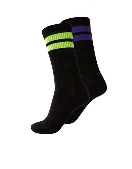 2-pack of neon stripe long socks