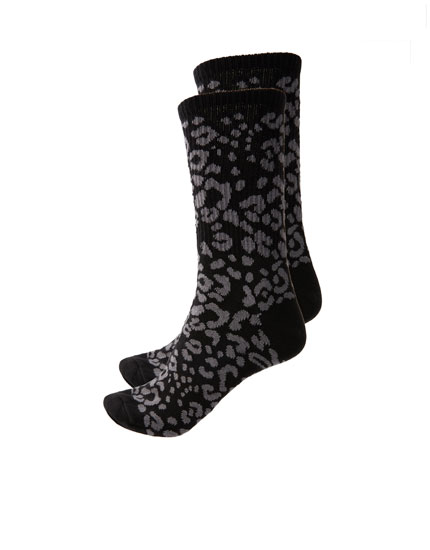 Black leopard print long socks