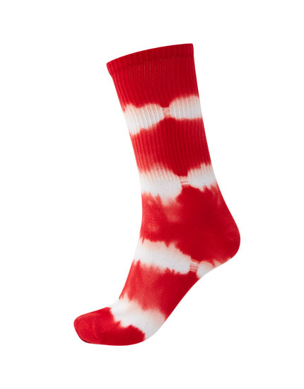Red tie-dye socks