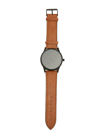 Black faux leather watch