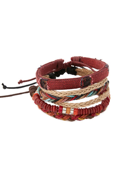 Pack 5 pulseras trenzadas roja