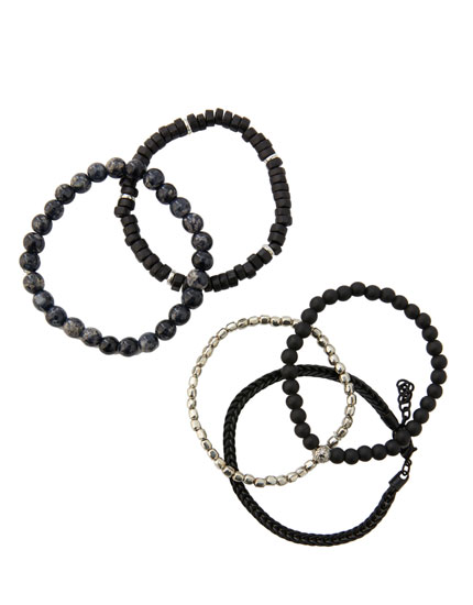 Pack of 5 metallic bead bracelets