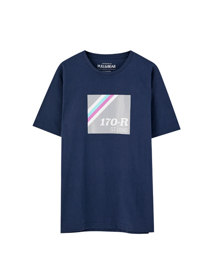 '170-R' T-shirt with coloured graphic