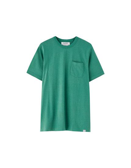 Camiseta punto grueso bolsillo