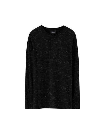 Flecked henley T-shirt