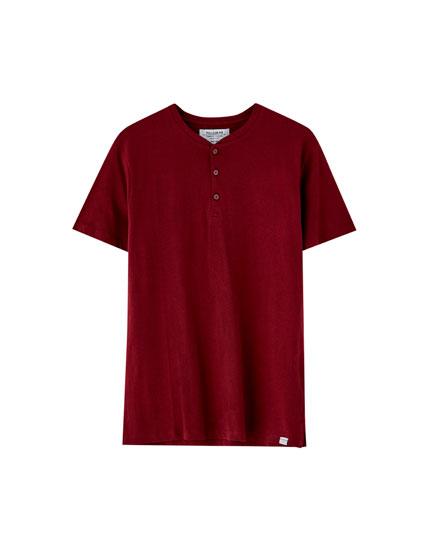Join Life düğmeli t-shirt