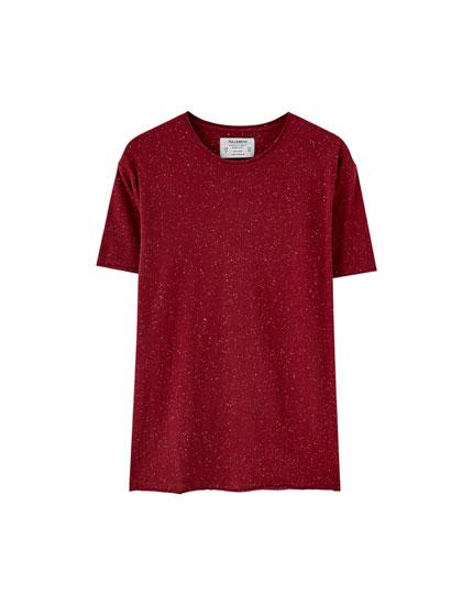 T-shirt met pilstructuur