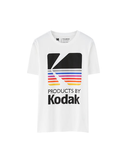 Çok renkli logolu Kodak t-shirt