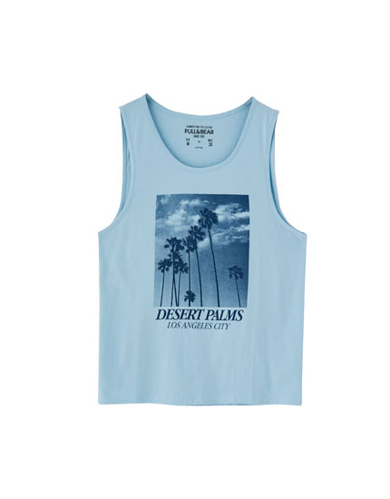 Blue photo print vest top
